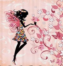 Fairy Girl Butterfly Fabric Shower Curtain Floral Flower Angel Wings Swi... - $29.39