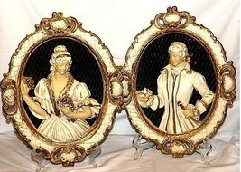 Plaques Ceramic Victorian His and Her  AA18-1328 Vintage image 3