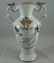 Vtg Lefton 25th Anniversary Two-Handled Bud Vase Urn Hand-Painted Silver... - $10.18