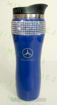 Mercedes Benz (Blue) Stainless Steel Thermal Bling Mug Tumbler Cup Travel 14oz M - $29.99