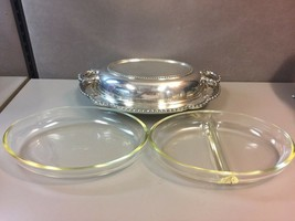 Wallace Silverplate Scalloped Serving Tray with 2 USA Glassware Inserts - $48.24