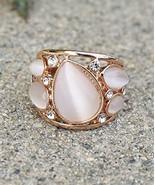 Elegant Teardrop Moonstone Rose Gold Plated Swarovski Element Crystal Fa... - $15.84