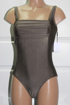 3246c82cd9 NEW Calvin Klein Solid Shirred Front Bronze Metallic One piece Swimsuit  Size 10 - $49.49