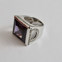Silver Ring 925 Rhodium with with Crystal Purple and Zircon Transparent image 1