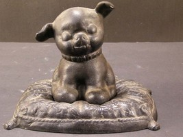 Vintage Cast Iron Hubley Fido Puppy Pillow Dog Terrier Still Coin Bank D... - $99.95