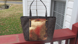 dd51339c9edc Authentic Michael Kors Jet Set Center Stripe Small Travel Tote Brown Gold  NWT -  149.99