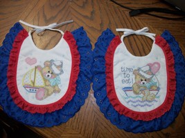 "Bibs Handcrafted XStitched - Decorated & Backed ""LITTLE SAILOR"" matches ... - $39.99"