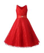 Vintage V-Neck Red Lace Kids Dress 2019, 6-14 years Flower Girl Formal D... - $33.00