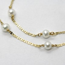 18K YELLOW GOLD NECKLACE, OVAL FLAT CHAIN ALTERNATE WITH WHITE MINI PEARLS 4 MM image 2