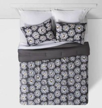 FULL Gray Daisies with White Sheets Printed MicrofiberBed Set W/Sheets 7 PIECES image 2
