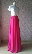 Fuchsia Hot Pink Full Chiffon Skirt Floor Length Summer Bridesmaid Chiffon Skirt image 5