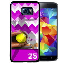 Personalized Case For Samsung S9 S8 S7 S7 S6 Plus Rubber Softball Purple Chevron - $13.42