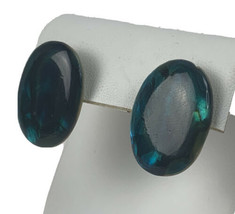"Vtg 70s Green Abalone Shell Oval Post Earrings 1"" - $16.79"