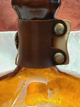 Vintage Amber Glass Bottle With Faux Leather Banded Neck Made in Taiwan image 8