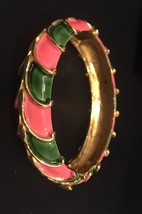 Vintage Original by Robert Enamel Pink / Green Hinged Bracelet - Excellent - $33.52