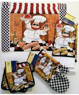 FAT CHEF KITCHEN LINEN SET 9pc Placemats Towels Mitt Potholders Cook Black - $17.99