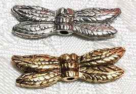 DRAGONFLY WINGS FINE PEWTER BEAD - 21mm L x 6mm W x 3mm D - Hole 1mm