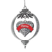 Inspired Silver Red Nana Pave Heart Holiday Christmas Tree Ornament With... - $14.69