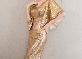 Sexy Golden Bat Sleeve Maxi Long Sequin Dresses Fitted Sequined Cocktail Dress image 4