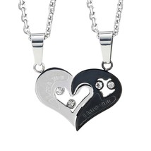 Urban Jewelry 2pcs His & Hers Couples Gift Heart Pendant Love Necklace S... - $507,90 MXN