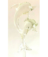 Vintage Clear Glass Dual Leaping Dolphins Decanter / Bottle Stopper - $39.95