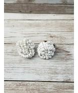 Vintage Clip On Earrings White Beaded - $12.99