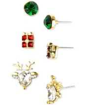 Holiday Lane Gold-Tone 3-Pc. Set Holiday Theme Stud Earrings – Gold - $16.83