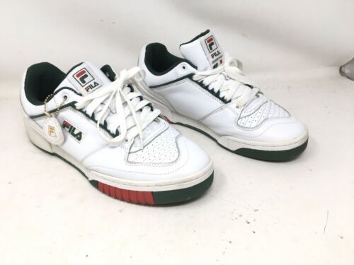 Primary image for Fila Mens Targa Low Top Italian Leather Sneaker White Sycamore Green Red  10.5