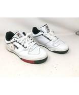 Fila Mens Targa Low Top Italian Leather Sneaker White Sycamore Green Red... - $52.49