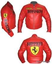Ferrari Biker Jacket Red Handmade Made to Order Pure Leather Safety Pads... - $169.99+