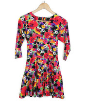 Jazz Kids Girls Size 14 Floral Dress Long Sleeve Neon Flowers Black - $27.76
