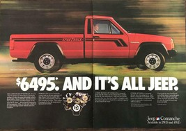1986 Jeep Comanche Sport Truck Print Ad Red Black Stripes in Motion 2 pages - $11.01