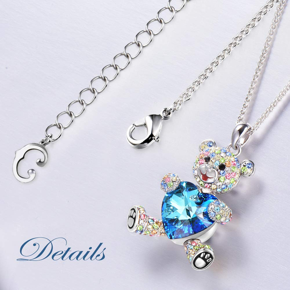 Conmisun Swarovski Necklace Jewellery for Woman Girls with Blue Heart and Rose P