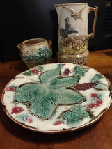 3 pieces of Late 19th Century English or American Majolica - plate, pitc... - $161.50