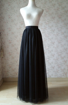 BLACK Long Maxi Tulle Skirt High Waisted Black Tulle Skirt Wedding Skirt image 10