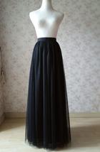 BLACK Long Maxi Tulle Skirt High Waisted Black Tulle Skirt Plus Size Black Skirt image 12