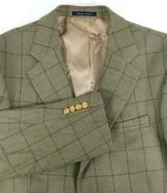 Lands End Mens Sport Coat Size 41 Regular Green Brown Windowpane Plaid 1... - $43.51