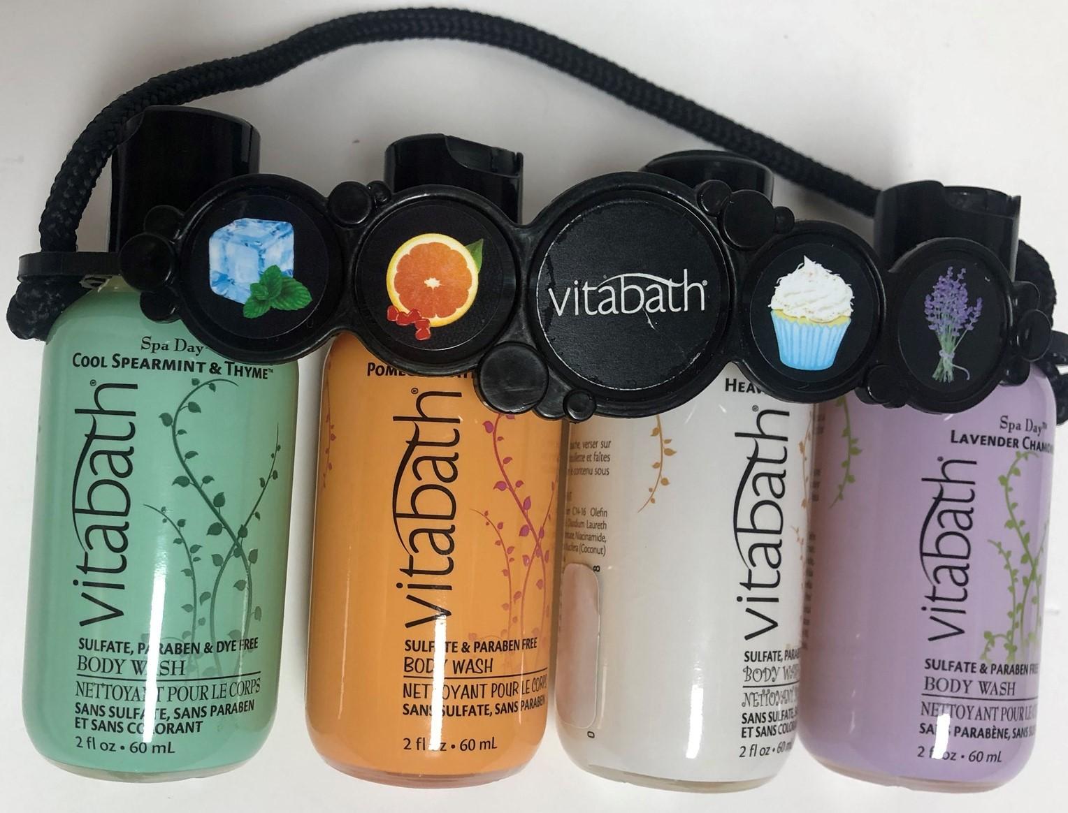 Vitabath Gift Set Body Wash 4-2 OZ Bottles Spearment Orange Coconut Lavender image 4