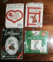 4 Assorted Small Christmas Cross Stitch Kits Ornaments Etc Lot A - $6.89