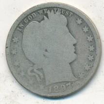 1897-O BARBER SILVER QUARTER-SEMI KEY-WELL CIRCULATED QUARTER-FREE S/H! ... - $23.95
