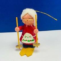 Christmas ornament 1980s wood holiday vintage mcm Santa Mrs Claus skiing... - $14.80