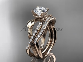 Nature inspired engagement ring set, 14kt rose gold diamond leaf and flower wedd - $2,015.00