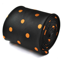 Frederick Thomas Black & Orange Polka Spot Mens Wedding Tie FT1422