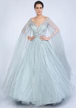 Beautiful Aqua Blue Net Gown6069 - $1,169.00