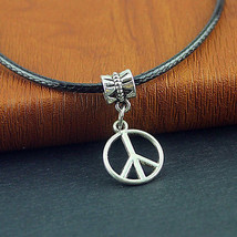 PEACE SIGN NECKLACE & EARRINGS  (8495)   >> COMBINED SHIPPING < - $5.69