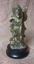Old Vintage Brass or Bronze Asian Man Statue Oriental Chinese on Wooden ... - $68.00