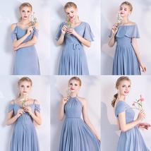 DUSTY BLUE Bridesmaid Dress 2019 Summer Chiffon Dusty Blue Bridesmaid Maxi Dress image 3