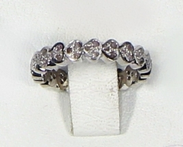 HeartDesign Eternity BandRing .925SterlingSilver WhiteOxidized with Pave... - $125.00