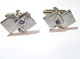SILVER TONE DECO STYLE DOUBLE DIAMOND SHAPE MIDCENTURY CUFFLINKS BLUE RH... - $19.00