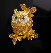 Vintage Owl Brooch / sparkling rhinestones /  Bird pin / Figural costume... - $85.00